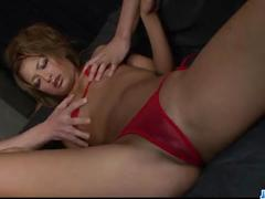 Rumika red lingerie babe enjoys cock in her shaved cunt