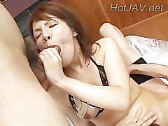 Wet asian girl gets hard ass fucked