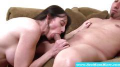Cocksucking milf mama tasting cock