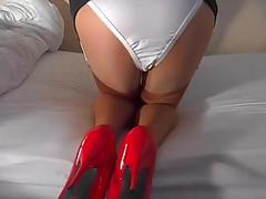 Red stilettos white knickers