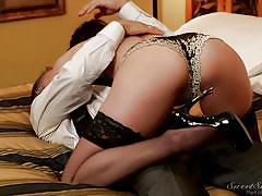 milf, nylons, kissing, lingerie, pussy eating, black hair, sucking tits, on bed, sweet sinner, marcus london, dana dearmond