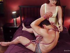 Redhead ties him up and humps him @ rope bondage for sex