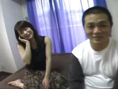 Busty japanese girl sucks and fucks his hard cock