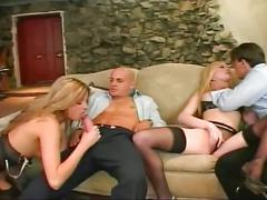 Sexy blonde chicks fucked in the ass in hot foursome