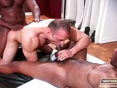 White ass for two massive black cocks