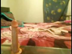 Teen cheerleader deepthroating and gagging on a dildo