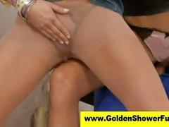 Euro babes and guy have piss trio