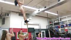 Teen sucks cock in gym