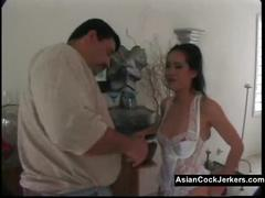 Asian babe in white lace has deep throat