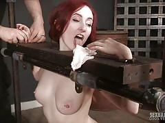Brutally mouth fucked right while in a bondage device