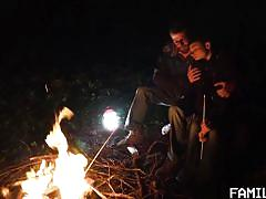 handjob, outdoor, kissing, romantic, tent, stepdad, fire, family dick