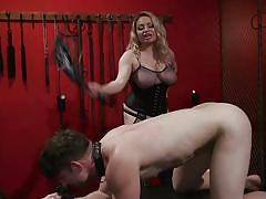 milf, blonde, handjob, femdom, big tits, bound, whipped, masked, cock torture, nipple clamps, electro bdsm, divine bitches, kink, aiden starr, rick fantana