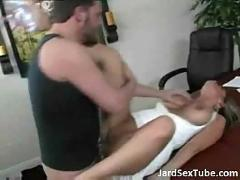 Big titted whore fucked hard on her office desk