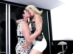 With granny in bed - old and young hot lesbian couple