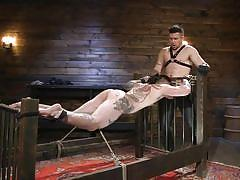 Hot muscular sex slave endures sweet torment