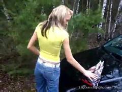 Cute teen blonde anal dildo fuck