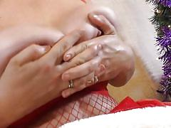 Mature with giant breasts uses her sex toy