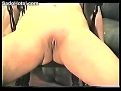 Amateur girl tied up on a chair and getting whipped
