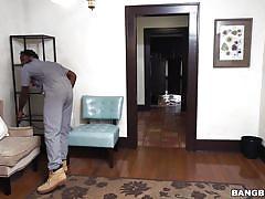 Alluring aubrey blows underwear fetishist's big black cock