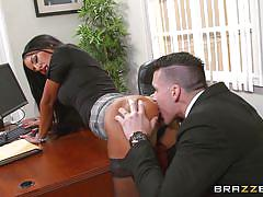 rimjob, office, blowjob, nylons, fingering, pussy eating, busty babe, on the table, big tits at work, brazzers network, elicia solis, clover