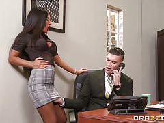 Getting her pussy licked at work