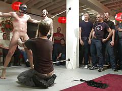 bondage, slave, gagged, cock torture, public disgrace, gay domination, nipple clamps, cbt, bound in public, kink men, christian wilde, mitch vaughn, eli hunter