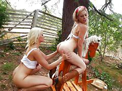 Blonde lesbos play outdoors with milk @ cream dreams #02