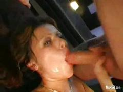 piercing, tattooed, babe, brunette, throat, deep, suck, oral, gangbang, group