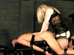 Two bitches use a fucktoy's holes