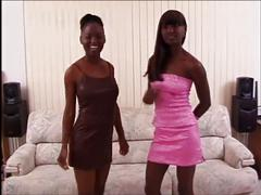 Chocolate sisters love white cock
