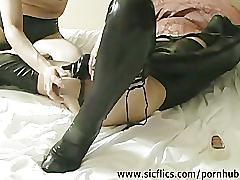 Extreme slut fist fucked by two brutes