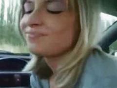 Beautiful blode teen sucks cock in a car
