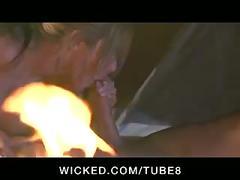 Big tit blonde pornstar fucks outdoors while camping