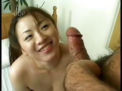Busty japanese babe gets cumsho
