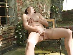 mature, redhead, outdoor, solo, masturbation, stockings, sex toy, mature nl, gysela