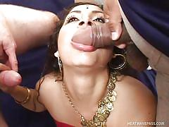 Girl in entourage of three horny cocks