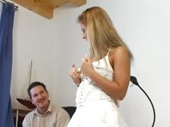 She shows him her new dress and hairy pussy