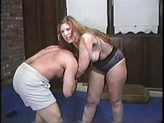 Big boobed bbw mixed wrestling pt 1