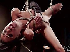 babe, slave, domination, master, brunette, rope bondage, sex dungeon, pussy insertion, sadistic rope, kink, lyla storm