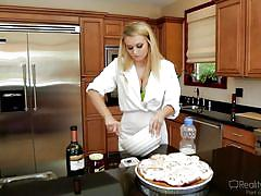 Blonde hottie with amazing tits does some baking @ big tit fantasies #03