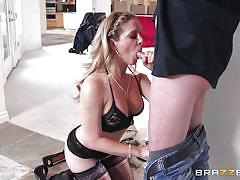 milf, blonde, big ass, blowjob, busty, cowgirl, reverse cowgirl, black lingerie, milfs like it big, brazzers network, cherie deville, ike diezel