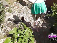 Cosplay babes cosplay japanese schoolgirl cums in the garden