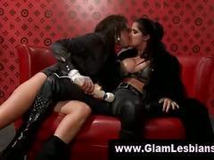 Glamorous lesbian gets pussy massage