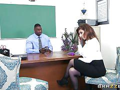 milf, ebony, interracial, deepthroat, hand job, tit fuck, big dick, big breasts, at school, big tits at school, brazzers network, sara jay, jax slayher