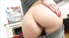Betty gaping her wet pussy and asshole with huge dildos