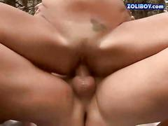 Young couple pissing and fucking outdoor
