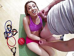 teen, latin, slim, hand job, dick sucking, point of view, at the gym, latina sex tapes, mofos network, sophia torres