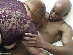 Hungry mature devours black cock