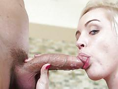 Blonde with pierced tongue gets some sperm