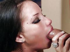 Pierced milf gets her pretty face covered in cum
